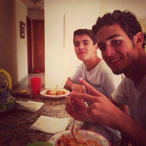 Eating lasagna with iden and marlon.
