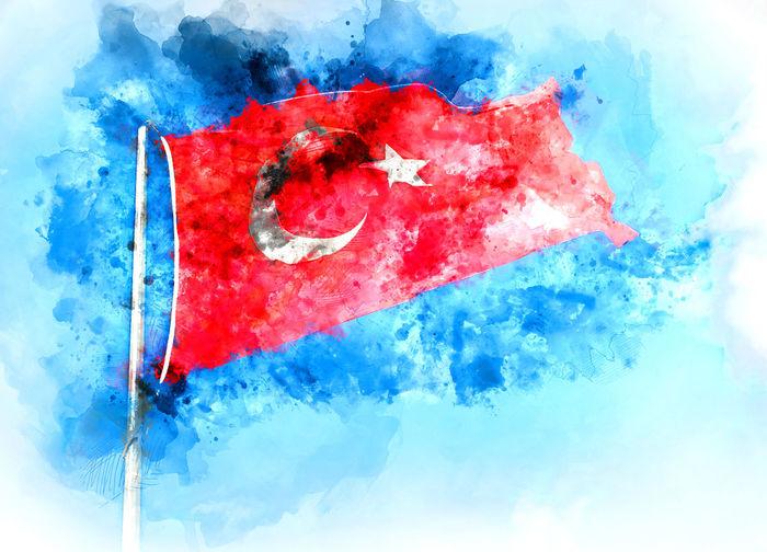 Flag of Turkey. Digital watercolor painting Alanya Altered Ankara Antalya Turkey Art ArtWork Blue Color Blue Sky Digital Art Digitally Generated Emblem  Flag Flag Of Turkey Government Illustration Insignia National Patriotic Red Color Star And Moon Symbol Turkey Turkish Watercolor Waving Flag