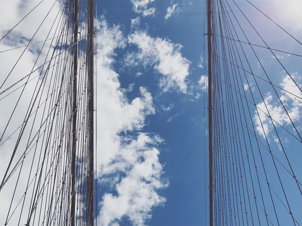Lookup Cloud - Sky Low Angle View Sky Mast No People Blue Rope Nautical Vessel Day Outdoors Sailboat Rigging Nature Tall Ship Sailing Ship Bridge Brooklyn Bridge / New York New York NYC Manhattan Brooklyn Symmetry Architecture