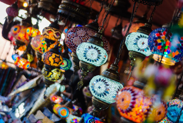 Close-up of various lanterns for sale at market
