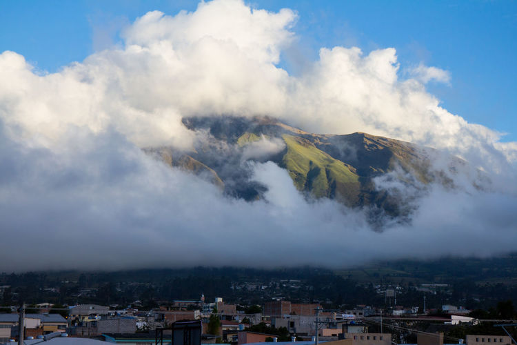Clouds covering mountains