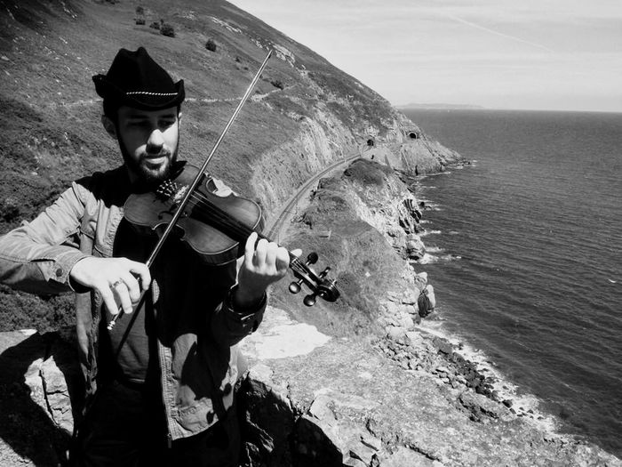 Cliffs Mountains Train Tracks Violin Violinist Music Enjoying Life That's Me Ireland Monochrome