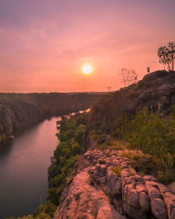 Northern Territory Katherine Gorge Outback Outback Australia Australia Sunset Beauty In Nature Tranquil Scene Scenics Nature Tranquility Orange Color Landscape No People Idyllic Sun Outdoors Rock - Object Sky Tree Water Travel Destinations Sunlight Lake Mountain