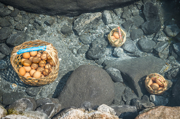 Boil egg in hot springs Basket Black Boiled Eggs Close-up Create Day Egg Food And Drink Gray Healthy Eating Healthy Food Hot Hot Springs Natural Nature No People Object Onsen Onsen Egg Outdoors Pond Stone Transparent Travel Water