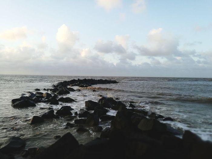 Serenity❤ Water Sea Beach Groyne Wave Sunset Rock - Object Sky Horizon Over Water Cloud - Sky Rocky Coastline