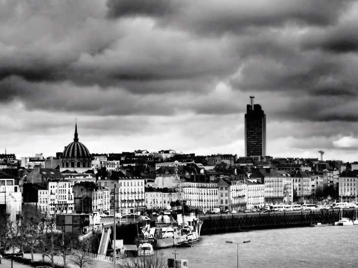 France Architecture Building Exterior City Tower Sky Cityscape Cloud - Sky Outdoors Travel Destinations No People Water Loire Tour De Bretagne Storm Cloud Stormy Weather Blackandwhite Black And White Black & White Eye4photography  City Life City Hello World Boats And Water Boat