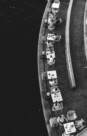 High angle view of people at outdoor caf