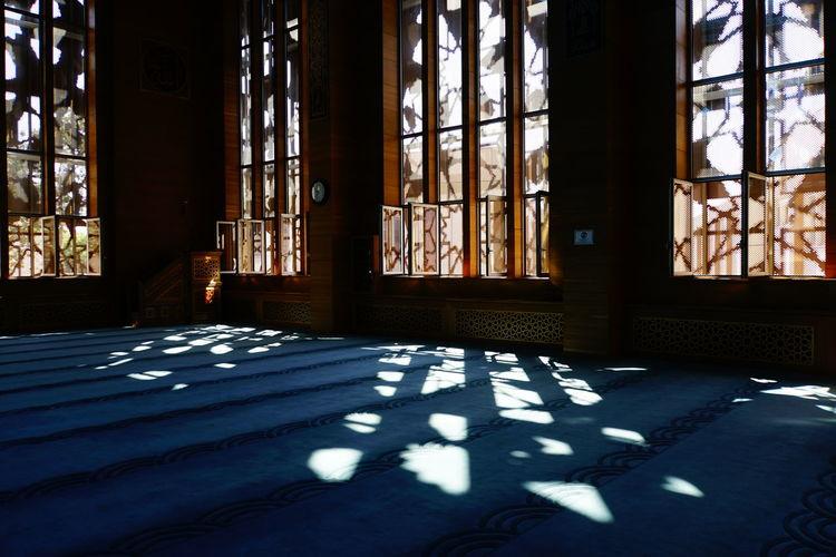 Sunlight falling on glass window of building