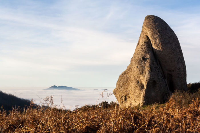 Argimusco Beauty In Nature Cloud - Sky Day Fog Me Megalith Megalithic Mountain Nature No People Outdoors Rock Formation Sicilian Stonhenge Sicily Sky Stone Sunset
