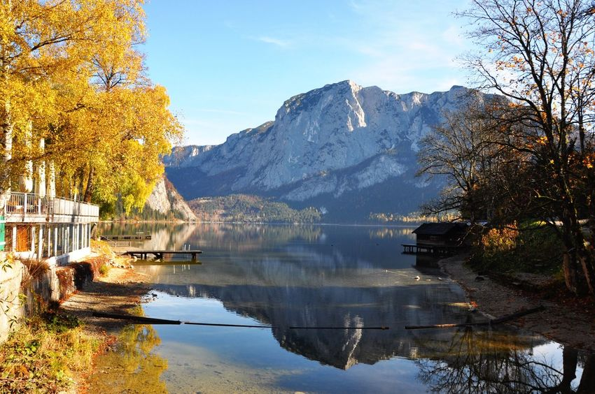 Alpine Alps Altaussee Salzkammergut Austria Mountain Reflection Tree Nature Beauty In Nature Lake Sky Scenics Water Tranquil Scene Mountain Range Outdoors Waterfront Tranquility No People Day Autumn