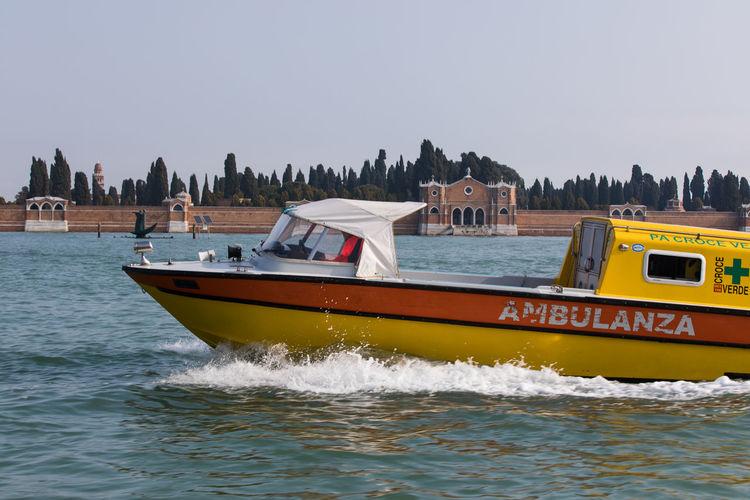 Ambulance Boat Italy San Michele Sea Venice Water