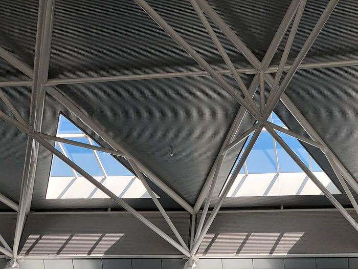 Airport Zurich Built Structure Architecture Low Angle View Pattern No People Metal Day Ceiling Bridge - Man Made Structure Modern