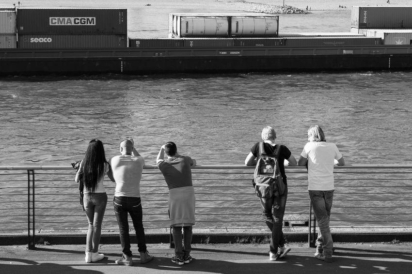 Düsseldorf, Germany Container Ship Deutschland Düsseldorf NRW Rhein Rheinufer Schiff Casual Clothing Group Group Of People Kontainer Mode Of Transportation Outdoors Real People Rear View Standing Transportation Waiting Water #urbanana: The Urban Playground