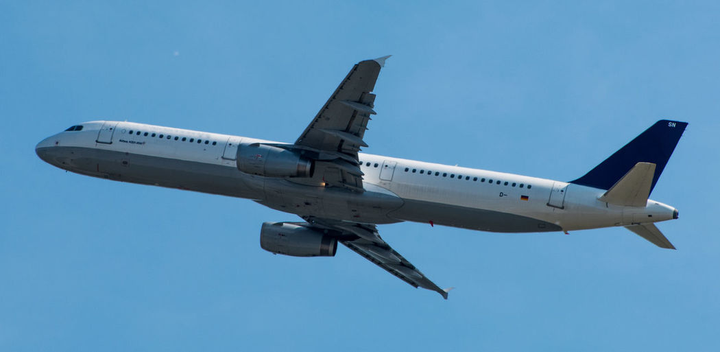 Airbus Plane A321 Aerospace Industry Air Vehicle Aircraft Photography Airplane Airport Blue Clear Sky