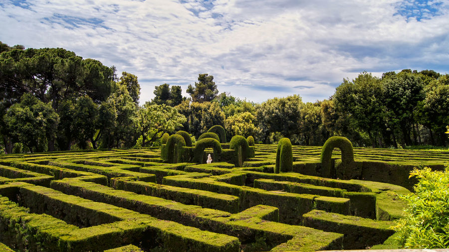 Hedge Maze At Parc Del Laberint D Horta Against Cloudy Sky