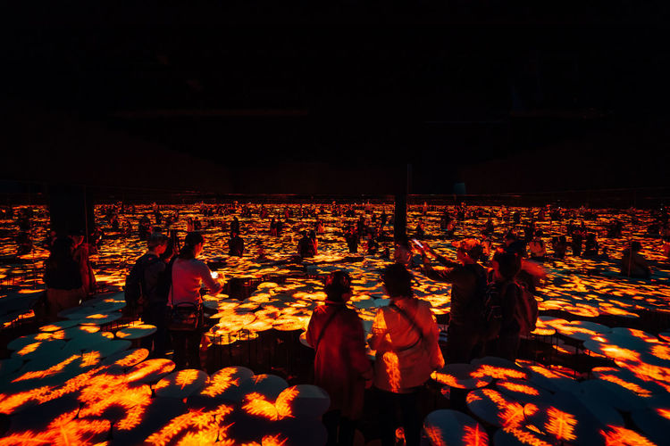 Group Of People Night Crowd Men Real People Large Group Of People Women Sitting Adult Leisure Activity Traditional Clothing Religion Illuminated Lifestyles Clothing Spirituality Lighting Equipment TeamLabBorderless TeamLab
