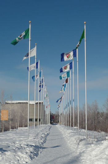 Flag Pole Path Patriotism Canada Clear Sky Cold Cold Temperature Cold Winter ❄⛄ Day Flag Flags Flags In The Wind  Nature No People North Outdoors Patriotism Pride Remote Sky Snow Snow Covered Windy Winter Yellowknife