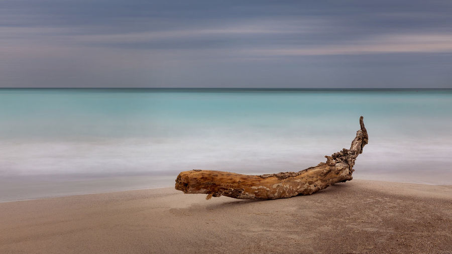 Moody Sky Beach Beauty In Nature Cloud - Sky Driftwood Horizon Horizon Over Water Idyllic Land Long Exposure Longexposure Nature No People Outdoors Remote Rock Sand Scenics - Nature Sea Simplicity Sky Tranquil Scene Tranquility Travel Destinations Water