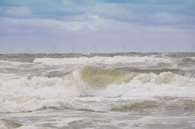 Nordsee Northern Sea Surf Waves Wave Pattern Waves, Ocean, Nature Wellen Brandung Aquatic Sport Beauty In Nature Cloud - Sky Day Environment Flowing Water Motion Nature No People Outdoors Power Power In Nature Renewable Energy Scenics - Nature Sea Sky Sport Water Waterfront Wave Coastline