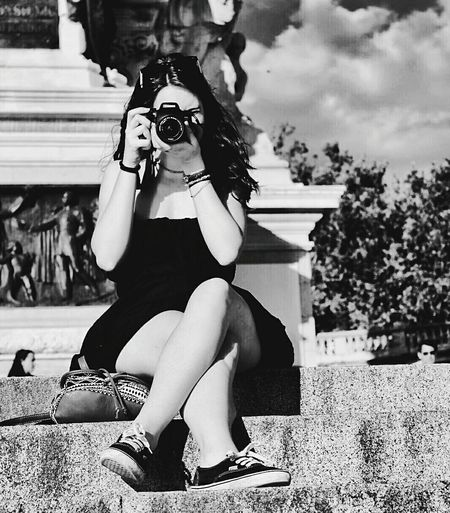 Monochrome Photography Low Section Young Women Young Adult Person Casual Clothing Sky Day Outdoors Practicing Madrid Retiro Park Retiro