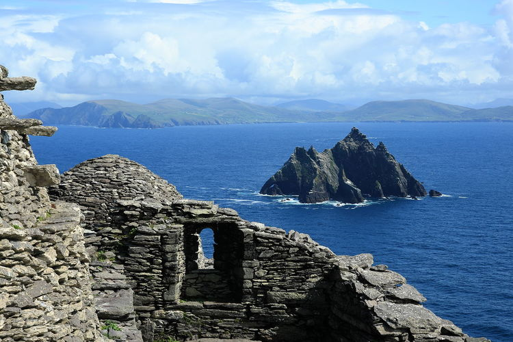 View from Skellig Michael to Little Skellig in County Kerry, Ireland, Europe Atlantik Ireland Michael Monastery Nature Portmagee Puffin Skelligs View World Heritage Destination Europe Island Kerry Little Nature Scenics Sea Skellig Sky Star Travel Destinations Unesco Wars Water