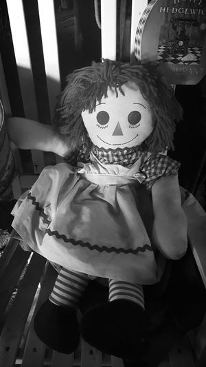 Raggedy Ann Black And White New Mexico, USA Road Trip Giftshop Roadside Shop Pinos Altos NM Old Dolls