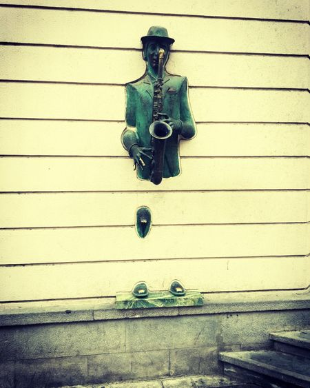 Oh, sweet sounds of a saxophone Tbilisi Georgia Streerart Streetsculpture Saxophone