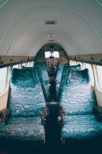 Interior of illuminated train