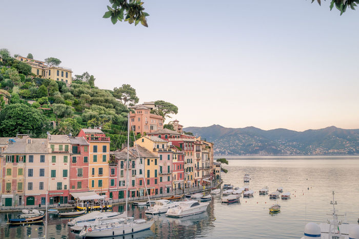 some minutes after sunset in Portofino, Tigullio gulf in background, Liguria, Italy After Sunset Architecture Beauty In Nature Building Exterior Clear Sky Genoa Genova Landscape Landscape_Collection Landscape_photography Liguria Meditterranean Mode Of Transport Nature Nautical Vessel Outdoors Portofino Portofino Italy Scenics Sea Sky Tigullio Tree Water