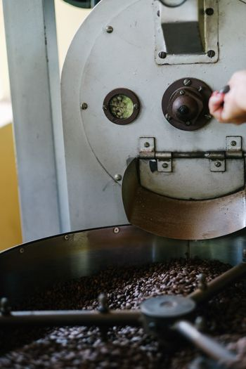 Coffee being roasted Brazilian Coffee Coffee Farm Coffee ☕ Coffee Beans Coffee Bean Coffee Close-up Day Metal Technology One Person Machinery Human Hand Machine Part Hand Equipment Rusty Factory Body Part