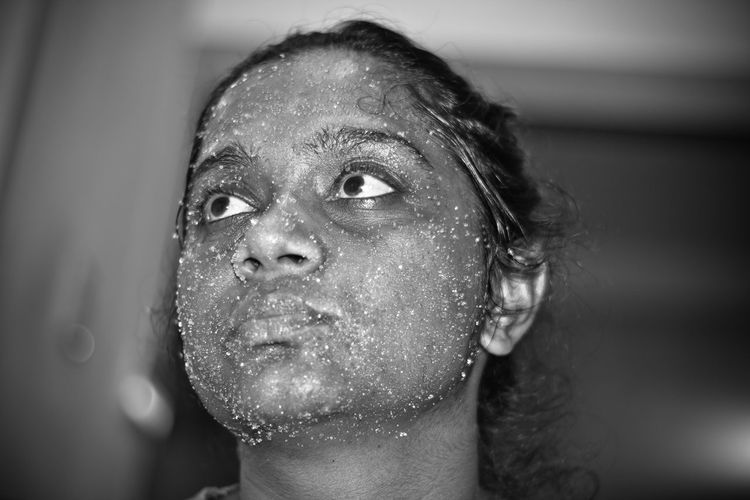 Close-up of woman wearing face mask