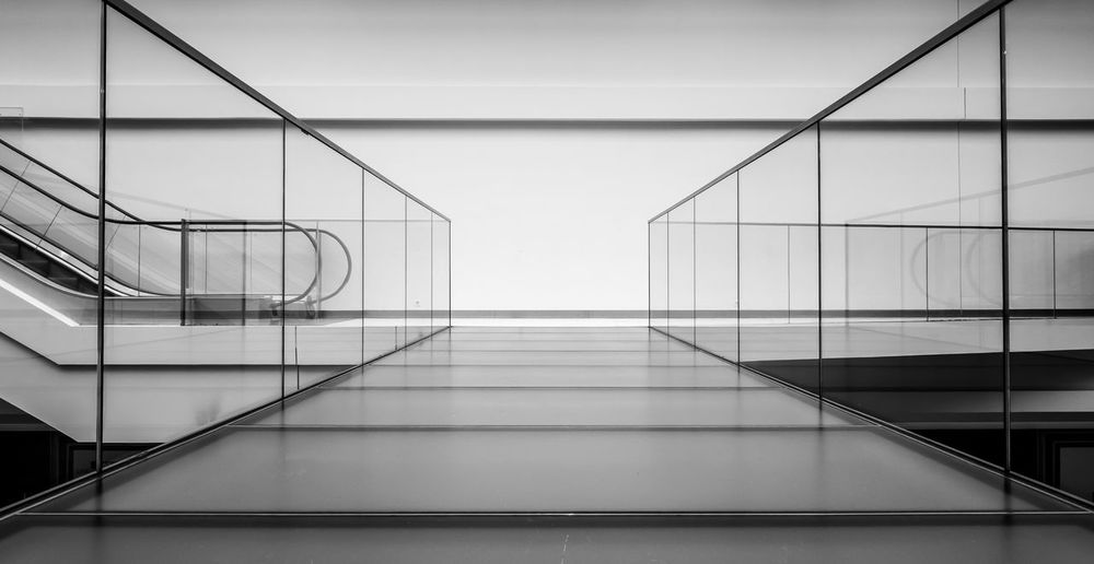 Architecture Black & White Black And White Bridge Built Structure Day Glass Hand Rail Indoors  Lines Material Minimalism Minimalistic Modern No People Pedestrian Walkway Railing Staircase Steps Steps And Staircases