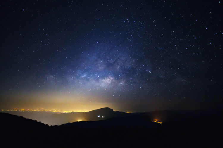 Astronomy Beauty In Nature Environment Galaxy Idyllic Infinity Milky Way Mountain Nature Night No People Outdoors Scenics - Nature Silhouette Sky Space Star Star - Space Star Field Tranquil Scene Tranquility