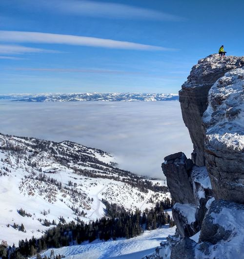 Clidescope Corbet's Coul Grand Teton National Park  Grand Tetons Jackson Jackson Hole Jackson Hole Resort Mountain Mountains OverTheClouds Skiing Sky Snow Snow ❄ Snowboard TGR Wyoming