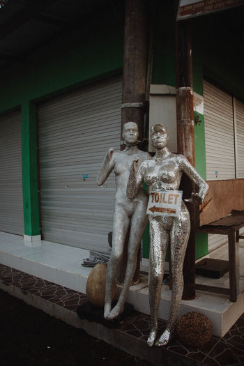 Architecture Art Art And Craft Built Structure Day Eclectic Human Representation Indoors  Male Likeness Mannequin Mannequins Mirrored Model No People Quirky Sculpture Sign Signage Statue Weird