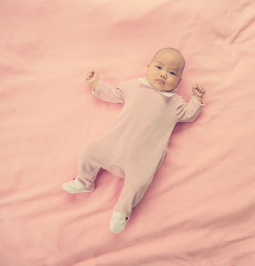 Baby Babyhood Bed Child Childhood Cute Full Length Furniture High Angle View Indoors  Innocence Lying Down Lying On Back One Person Real People Relaxation Toddler  Young