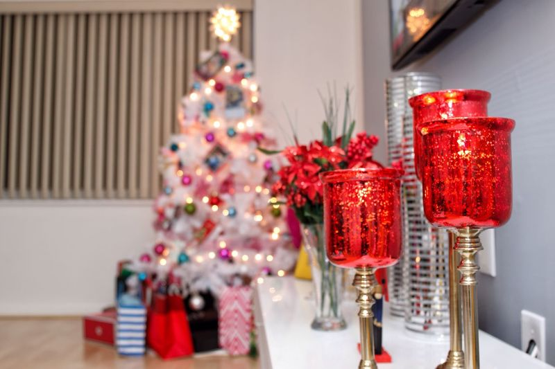 Christmas decorations and tree at home
