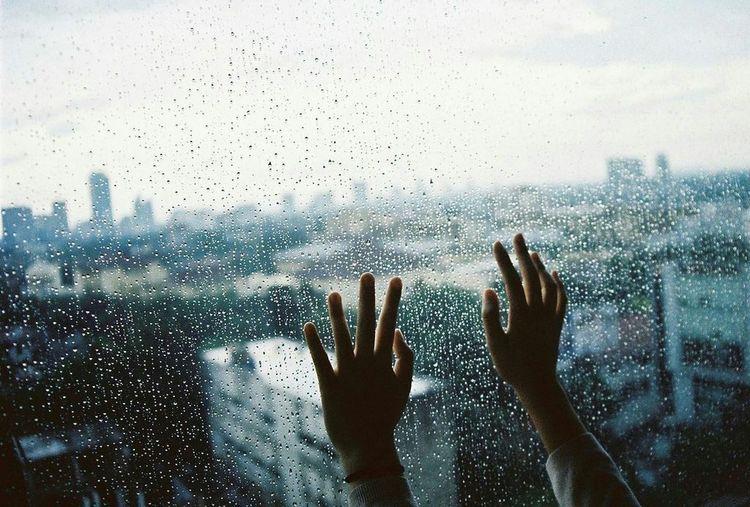 Window Sky Human Hand Rain☔ Loneliness Silence