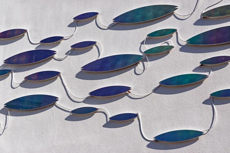 High angle view of sunglasses on wall