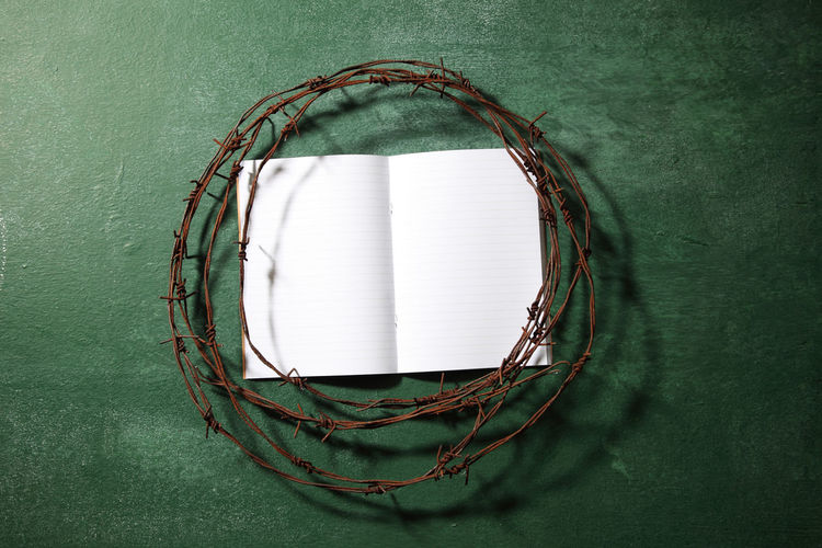Directly above shot of rusty barbed wire with book on blackboard