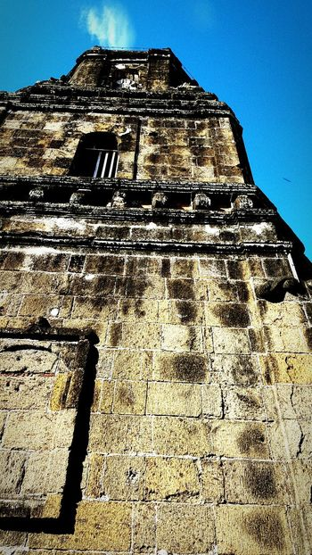 Paete church philippines (samsung s6 shot) Low Angle View Architecture Built Structure Building Exterior Clear Sky Window Blue Sunlight Tall Day Sunny Outdoors Obsolete Geometric Shape Weathered History No People