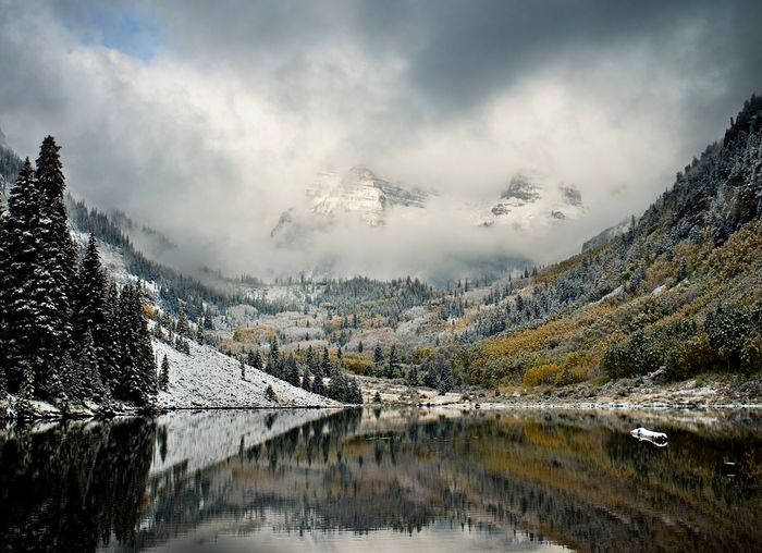 Scenic View Of Lake At Maroon Bells During Winter