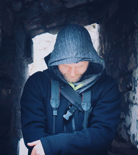 Kasteel and Ruins Valkenburg Cold Temperature Warm Clothing Portrait Winter Human Body Part People Hoodie Hood - Clothing Adventure Holiday Vacation Beard Discovery Fashion Stories Shades Of Winter Exploration Man An Eye For Travel This Is Masculinity Inner Power