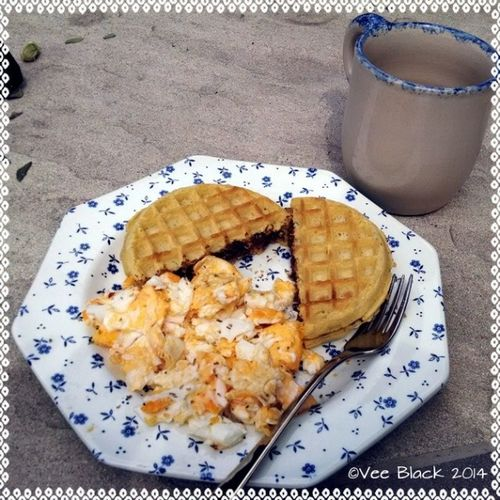 Late breakfast outside. Eggos Eggs Nutella Greentea breakfast sunday may 2014