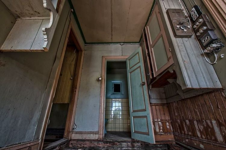 Low angle view of abandoned bathroom