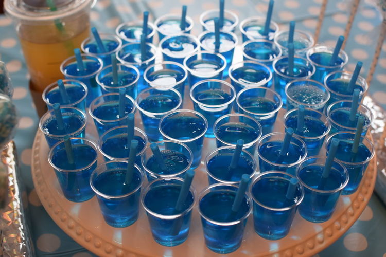 High angle view of drink in glasses on table