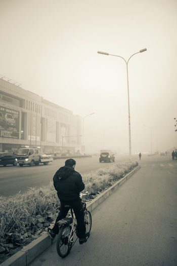 City Biker Headwear Full Length Motorcycle Politics And Government Road Fog Land Vehicle Street