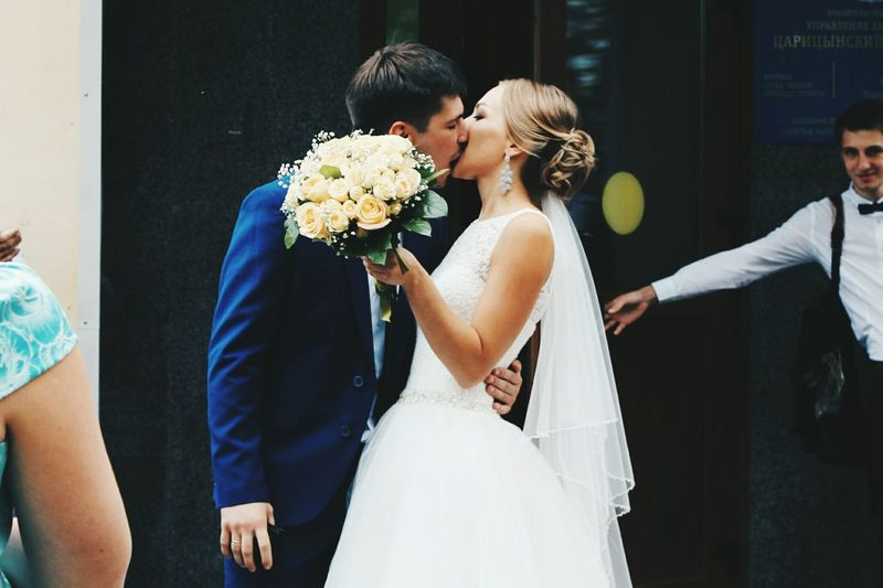 Wedding Love Day Husband Husband And Wife Flower Bouquet Person Casual Clothing Happiness Happy Wife Love Togetherness Bonding Bouquet Casual Clothing Person Flower Well-dressed Freshness Day Moscow