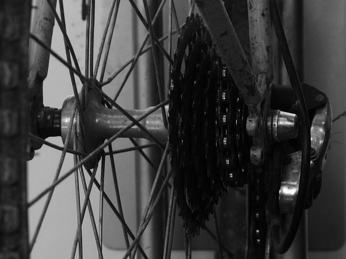 Pinions Close-up No People Bycicle On The Train Black And White Photography