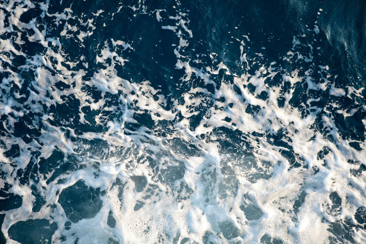 Motion Sea Wave Water Full Frame Nature Beauty In Nature Backgrounds Outdoors Power Breaking Day High Angle View Scenics - Nature Power In Nature Hitting Foam Foamy Water Deep Blue Top View